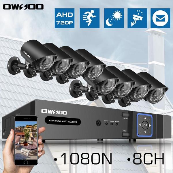 OWSOO 8CH 1080P Hybrid NVR AHD TVI CVI DVR 5-in-1 Digital Video Recorder +  4*720P 1500TVL AHD Waterproof CCTV Camera + 4*60ft Surveillance Cable