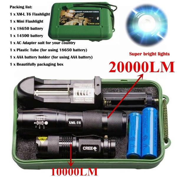 Tactical ZOOM 20000LM T6 LED 18650 Flashlight Light Lamp Torch+18650+Charger+Box