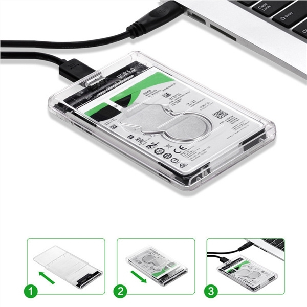 2.5/'/' 5Gbps Transparent USB3.0 HDD Case Free Hard Drive Enclosure Storage Box