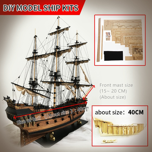 60cm Size long sailing ship in Pirates of the Caribbean wood model building  kit