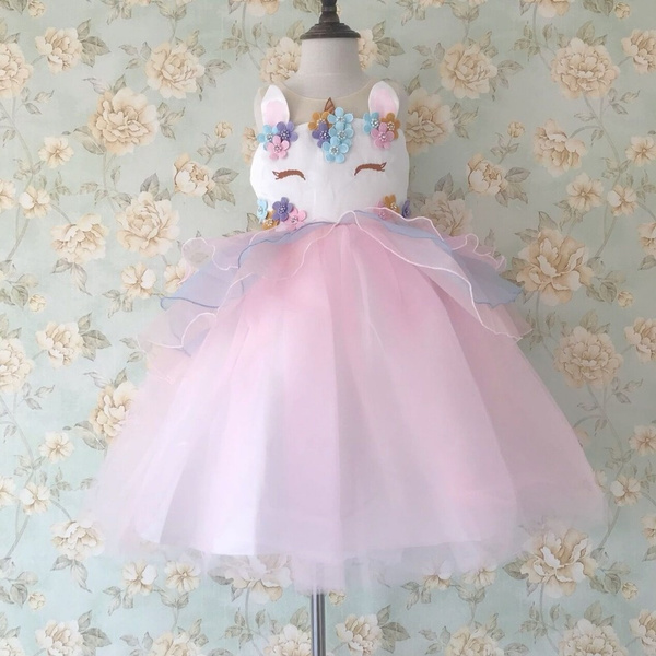 17826ba2f5c76 Retail Girl Dress 2018 New Unicorn Embroidery Flower Beading Gauzze  Princess Dress Children Clothes Baby Party Dress Tulle Dress Cosplay Wear