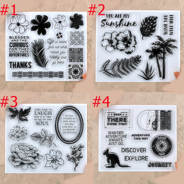 Stamps Clear Stamps You are My Sunshine Palm Tree Vocation Flowers ...