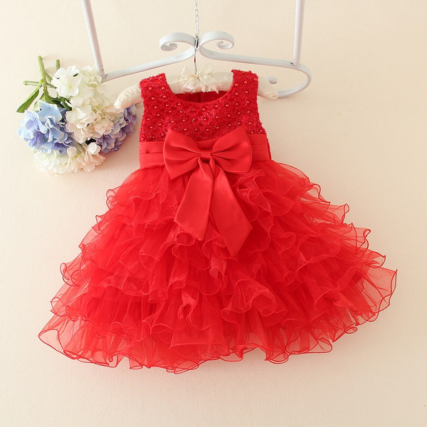 baby toddler ruffle lace FLOWER GIRL DRESS birthday party dress baptism outfit