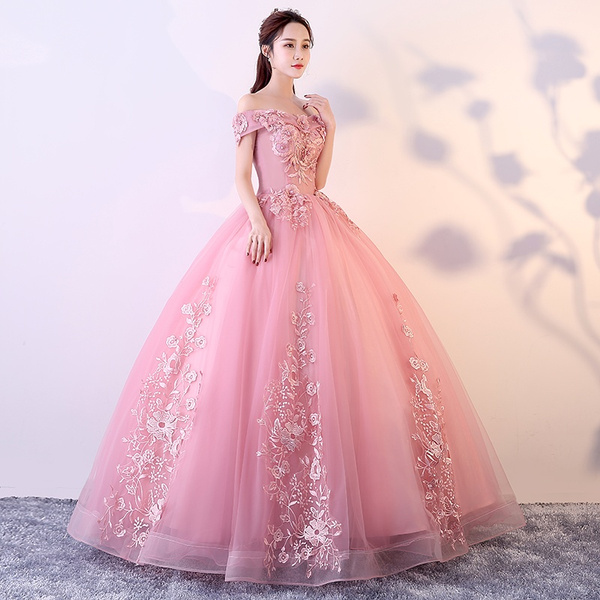 Wish | Off Shoulder Blush Pink Appliques Ball Gown Vintage ...