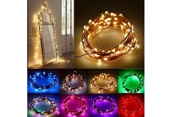 Micro Warm White LED Starry Lights battery operated on Long Silver Ultra Thin String Wire, Perfect For Creating Instant Appeal in Any Setting - Christmas Parties, Bedrooms, or an Intimate Environment Anywhere in the Home, Waterproof LEDs