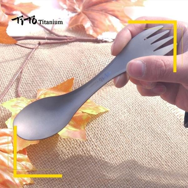 Picnic Fork Spoon Outdoor Tableware TiTo Titanium Spork Camping Traval