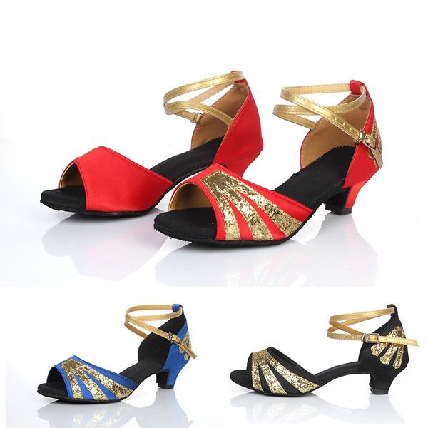 3dfdebfda Low Heel 4cm Women/Girls Ballroom/Latin Dance Shoes Kids/Adult Satin Samba  ChaCha Rumba Modern Shoes Salsa Sandals