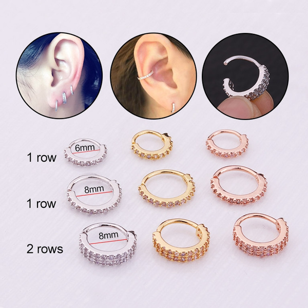 a46824f08 New Arrival 1 Row And 2 Rows CZ Hoop Earring Helix Piercing Tragus ...