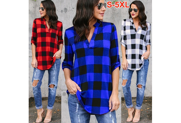 Women Causal Lattice Simple Tops Loose Sweatshirt Cotton Sexy Deep V-neck Shirt Blouse Pullover Ladies Fashion Autumn Summer Long SleeveT-shirt Plus Size S-5XL