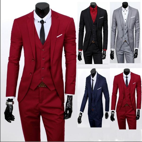 Fashion 3 Set Wedding Of Suits Wear Business WishMen's NnPy0Ovm8w
