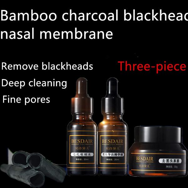 Bamboo Charcoal to Black Nose Nasal Mask Shrink Pores Pig Nose Stick Tear  Mask Blackheads Export Solution 3 Piece Suit