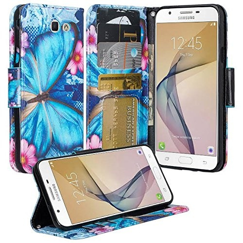 low priced b67ef 692fe Galaxy J7v Case, Galaxy J7 Perx Case, Galaxy J7 Prime Case, Galaxy J7 Sky  Pro Case, Wrist Strap Flip Folio [Kickstand] Pu Leather Wallet Case with ...