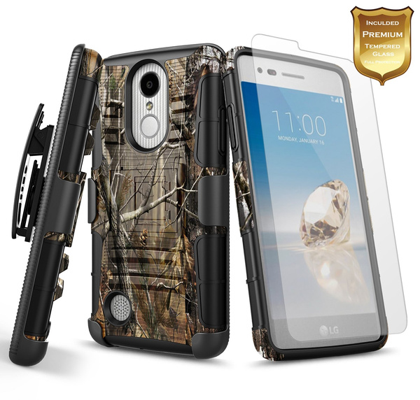 new products 1397c b0bd7 LG Fortune Case (M153), LG Rebel 3 LTE Case (L157BL), LG Phoenix 3 (M150)  w/ [Tempered Glass Screen Protector], NageBee [Heavy Duty] Shock Proof  [Belt ...