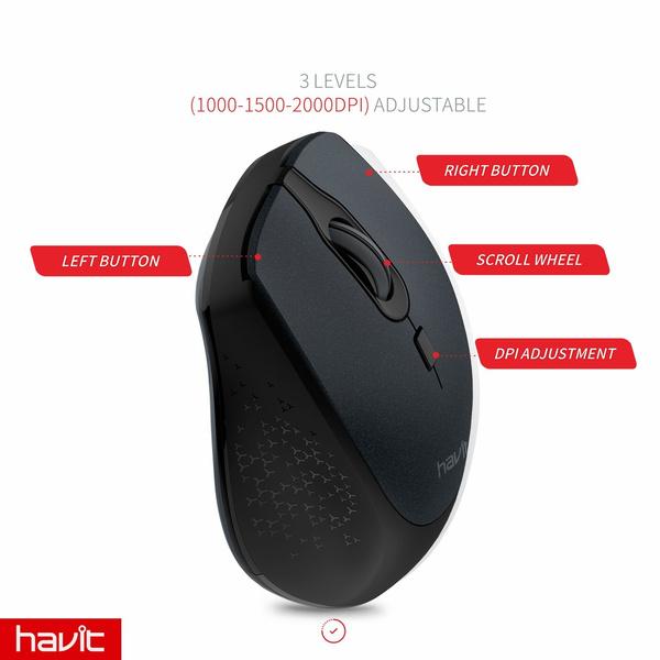 7a3053996ba5 Wish | 2.4G Wireless Mouse HAVIT 2000DPI Optical Mini Portable ...
