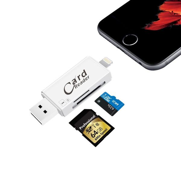 wholesale dealer f5cf3 91da4 SD Card Reader With Lightning For Iphone & Ipad, Game Camera Card Reader  with Lightning Micro USB Connector for iOS, Android, PC-Support IOS11 &  128GB ...