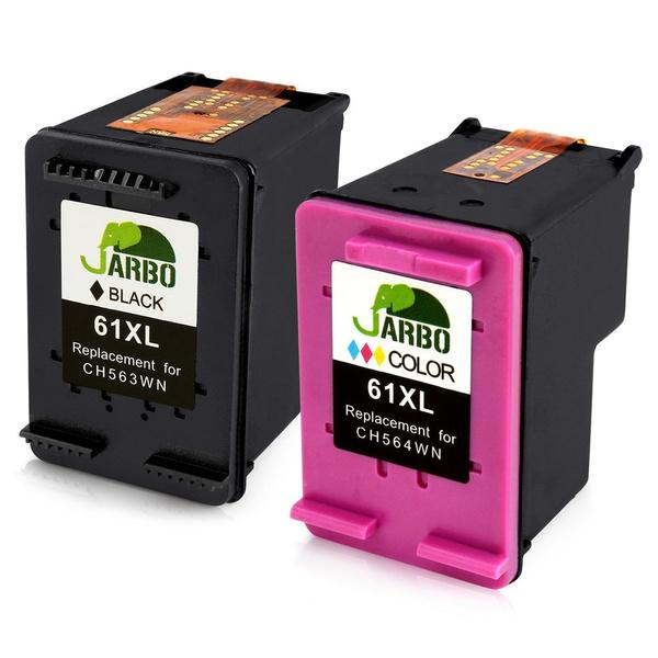 JARBO Remanufactured for HP 61 Ink Cartridges High Yield, 1 Black + 1  Tri-Color, Ink Level Display for HP Envy 4500 5530 5534, HP Deskjet 1000  1512