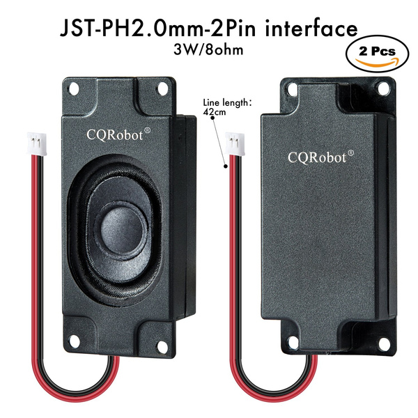 JST - PH2 0 interface Stereo Enclosed Speaker (2 PCS), 3 W, 8 Ohm  Applied  to All Kinds of Audio Production, Raspberry Pi and Arduino DIY Projects