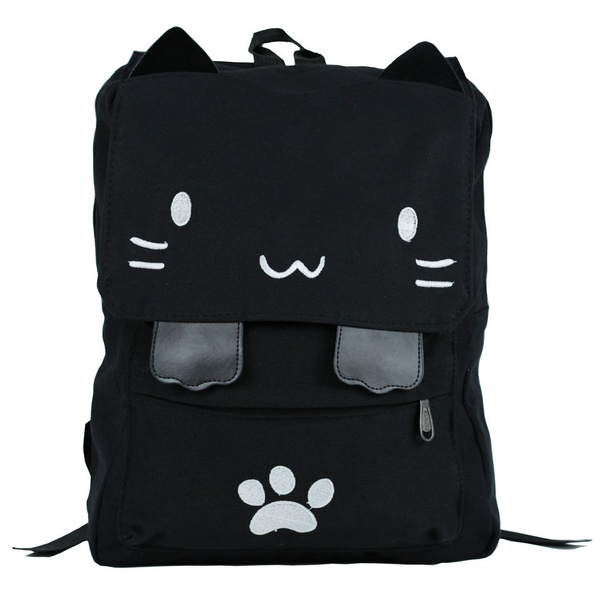 4124126765ee Black College Cute Cat Embroidery Canvas School Laptop Backpack Bags For  Women Kids Plus Size Japanese Cartoon Kitty Paw Schoolbag Ruchsack Girls  Boys ...