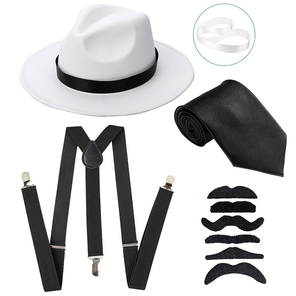 39a93203a29a21 Men's Roaring 1920s Gangster Costume - Deluxe Manhattan Fedora Hat ...
