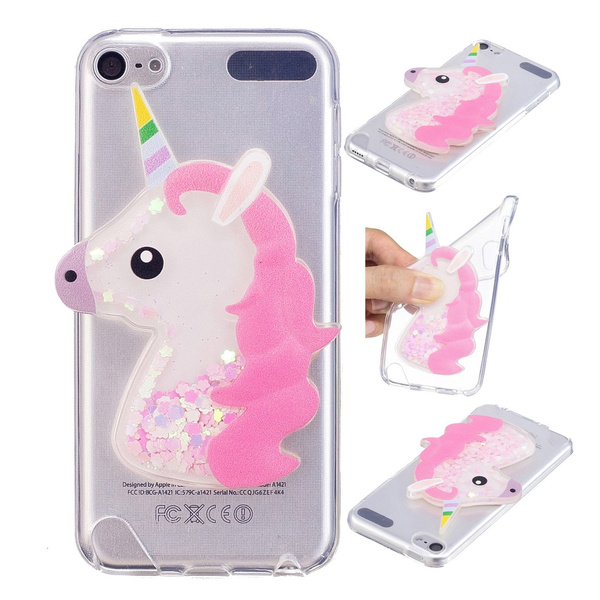 on sale 4fdaa 10e1d iPod Touch 6 Case, iPod Touch 5 Case, Ranyi [Liquid Glitter Unicorn] [3D  Cute Unicorn] Clear TPU Cover + Flowing Floating Liquid Glitter 3D Unicorn  ...