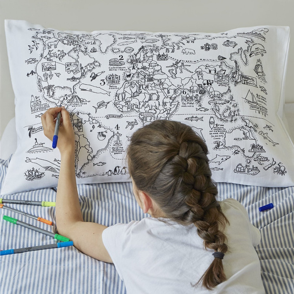 Color Your Own World Map.Wish Doodle World Map Pillowcase Color Your Own Pillow Case
