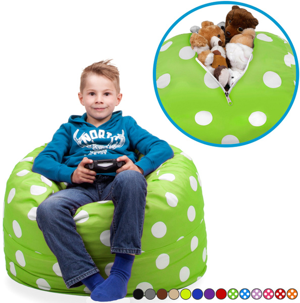 Fabulous Stuffed Animal Storage Bean Bag Chair In Chartreuse With White Polka Dots Fill It Zip It And Sit In It Clean Up The Room In Style And Get Yourself Pdpeps Interior Chair Design Pdpepsorg
