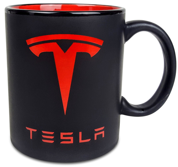 TESLA Coffee Mug - Matte Black with Red