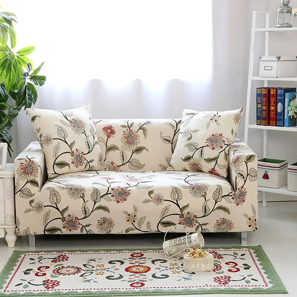 Pleasing Lamberia Spandex Fabric Stretch Sofa Slipcover Couch Covers For Loveseat With One Pillow Case 54 70 Blooming Flower Andrewgaddart Wooden Chair Designs For Living Room Andrewgaddartcom