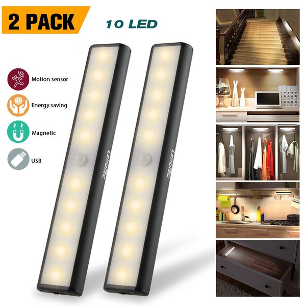 Magnetic Stick Led Cabinet Sensor Cupboard Motion Removable Wardrobe Lights & Lighting