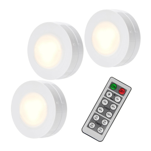 Solled Wireless Led Puck Lights Closet Lights With Remote Control Battery Powered Dimmable Kitchen Under Cabinet Lighting 4000k Natural Light 3