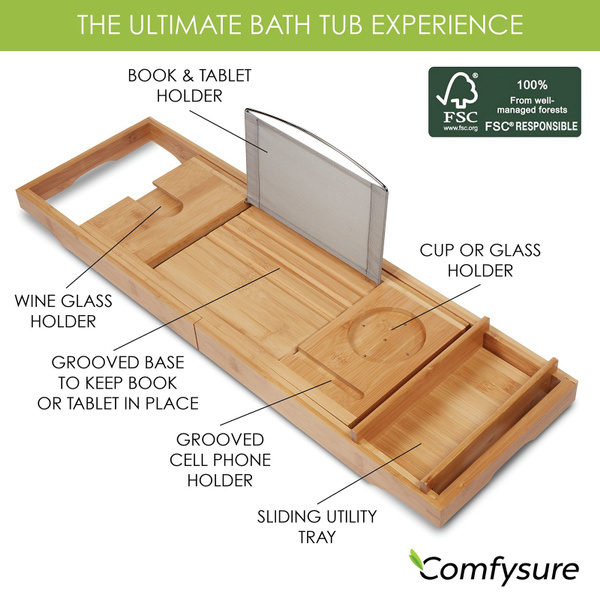 Wish | Expandable Bamboo Bathtub Caddy - Adjustable Wooden Serving ...