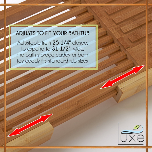 Wish   Luxe Expandable Bamboo Bathtub Caddy Adjustable Wooden ...