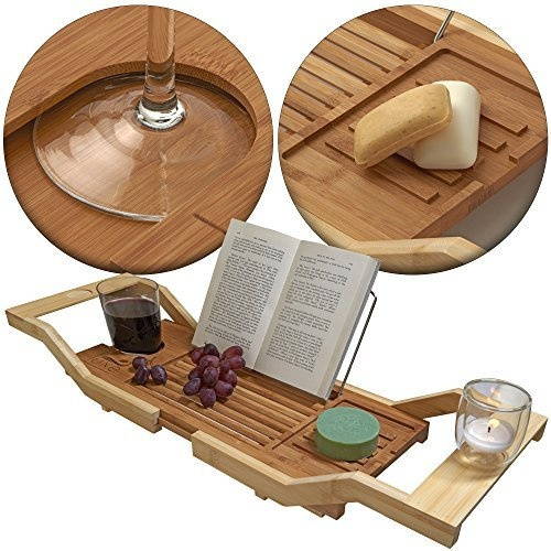 Reading Rack Adjustable Bamboo Bathtub Tray Caddy with Wine Glass Holder
