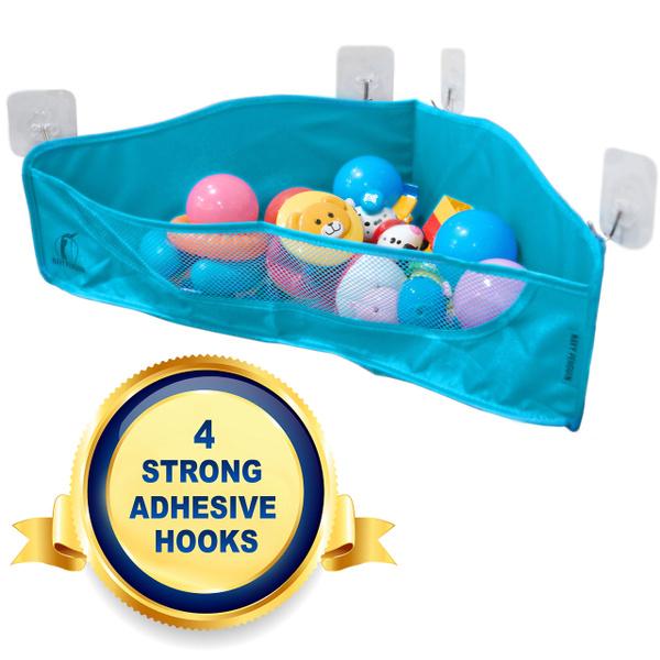Bath Toy Storage   4 Strong Adhesive Hooks   Bathtub Toys Net Holder  Organiser   Corner Shower Caddy Bag For Kids And Toddlers   Bathroom Basket  For ...