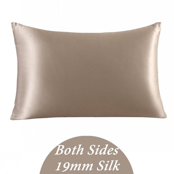 "1PC 19MM 100/% Pure Silk Pillowcase Pillow Cover Zip Closure Queen size 20/""X30/"""