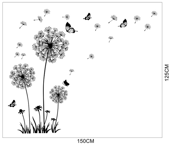 Wish   Dandelion Wall Decal - Wall Stickers Dandelion Art Decor ...