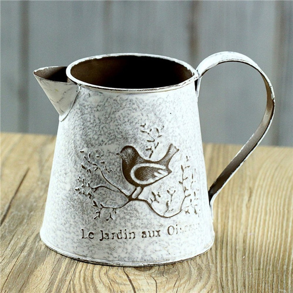 Vancore French Style Shabby Chic Mini Gift Metal Pitcher Flower Vase
