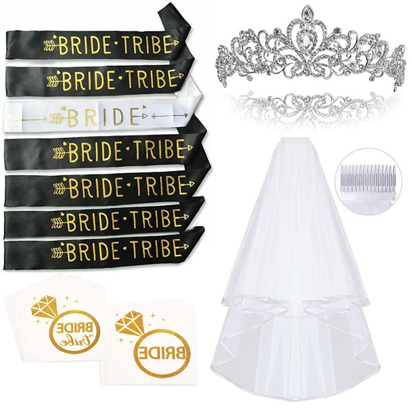 Bachelorette Party Smarimple Bride To Be Kit 7 Unique Sash For Bride And Bride Tribe 1 Rhinestone Tiara 1 Veil 12 Golden Flash Tattoos Pack Of 21