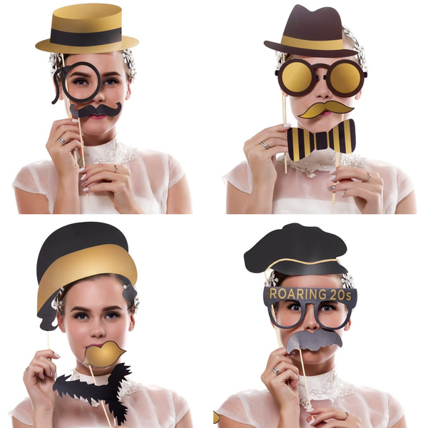 Geek Roaring 1920s Party Photo Booth Propsbizoerade 42pcs