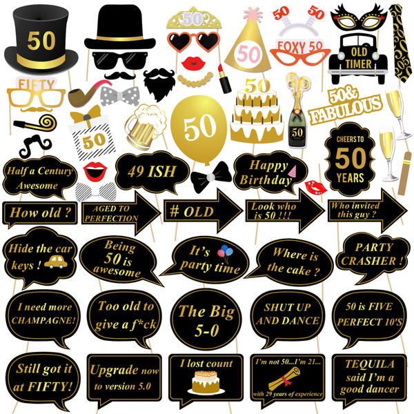 50th Birthday Photo Booth Props Konsait 50 Black And Faux Gold Happy Birthday Decorations Diy Photo Booth Prop Kits With Stick For Birthday Party