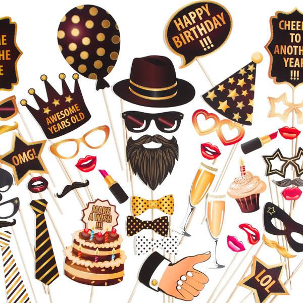 Zezazu Happy Birthday Party Photo Booth Props Funny Diy Kit 44
