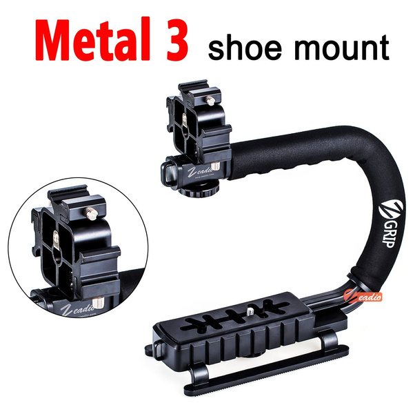 Zeadio Video Action Stabilizing Handle Grip Handheld Stabilizer with Hot-Shoe Mount for Canon Nikon Sony Panasonic Pentax Olympus DSLR Camera Camcorder
