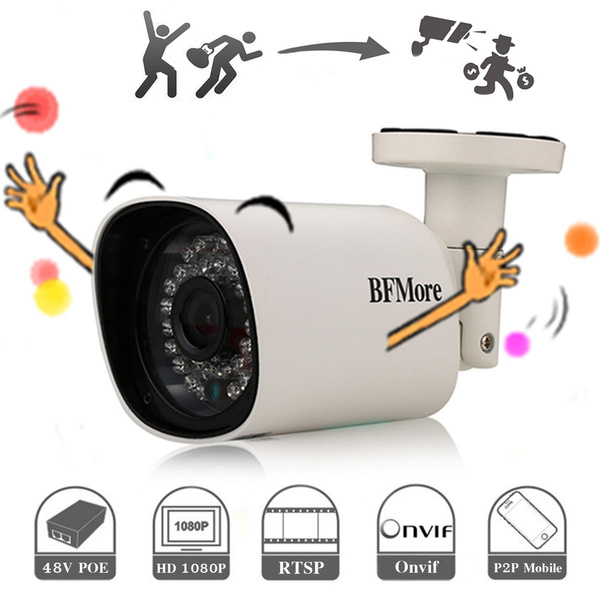 IP POE Camera 1080P RTSP, Outdoor Home Security Camera BFMore, Onvif H 264  Network Night Vision Waterproof, Remote View by APP iPhone Android Windows