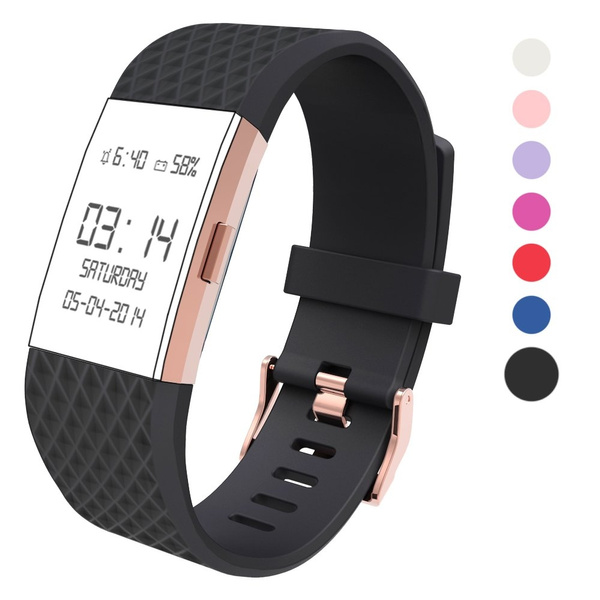 For Fitbit Charge 2 Bands Accessories Wearlizer Silicone Replacement Strap For Fitbit Charge 2 Special Edition Lavender Rose Gold Buckle Great Match