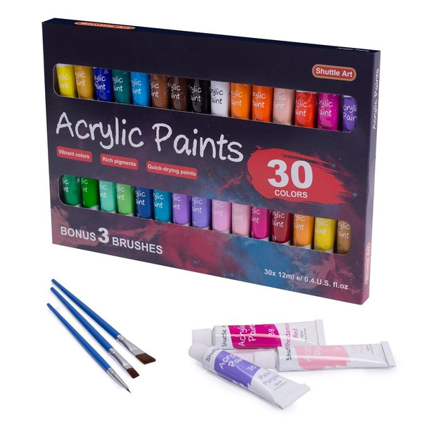 Is Acrylic Paint Toxic >> Acrylic Paint Set Shuttle Art 30 X12ml Tubes Artist Quality Non