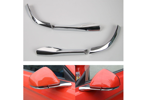 Chrome 4PCS Car Rearview Side Mirror Pedestal Bottom Cover Trim Decoration Frame for Ford Mustang 2015-2017