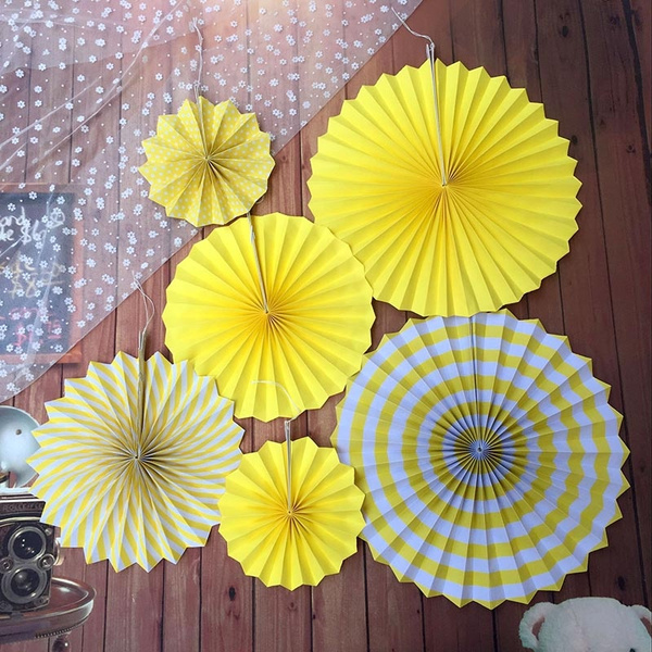 6 Pcs Set Artificial Paper Craft Single Circular Handmade Fan Flower Home Wedding Party Decorations Ornaments Wall Hanging Flowers