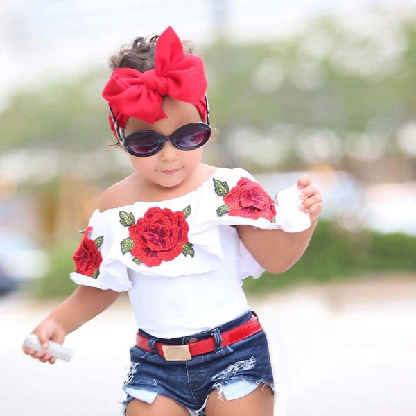 FashionToddler Kids Baby Girls Off Shoulder 3D Rose Blouse Tops Outfits Clothes