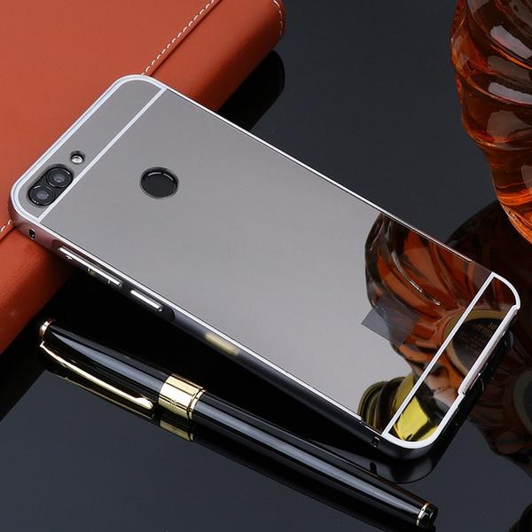 codice promozionale 3d48b d7e37 Cover For Huawei P Smart Case Mirror Aluminum Metal Bumper + Acrylic PC  Back Phone Case For Huawei P Smart Cover Psmart Fundas