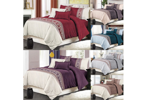 6 Colors Flower Printed Bedding Sets 6 Size Single Double Full Queen King Duvet Cover Set With Pillowcase (Without Bedsheet)